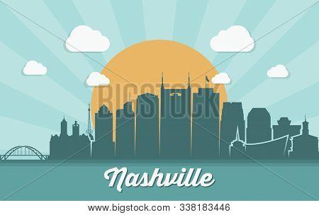 Nashville Skyline - Tennessee - Vector Illustration