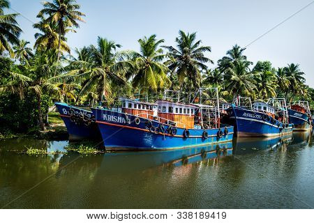 Alappuzha, Kerala, India - 17 November 2017: Row Of Ocean Fishing Boats From The Front Along The Can