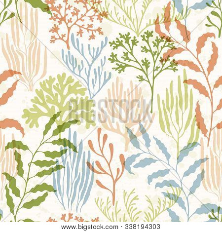 Coral Reef Seamless Pattern. Kelp Laminaria Seaweed Algae Background. Marine Water Plants Wallpaper
