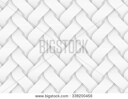 Vector Seamless Decorative Pattern Of Entwined Curve Bands. White Repeating Geometric Background Ill