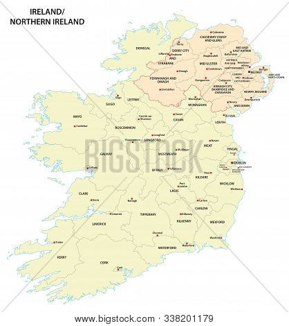 Administrative Map Of Ireland And Northern Ireland