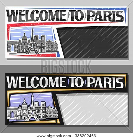 Vector Layouts For Paris With Copy Space, Card With Black And White Line Draw Of Paris Landmarks, De