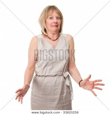 Attractive Woman With Scared Expression Holding Out Hands