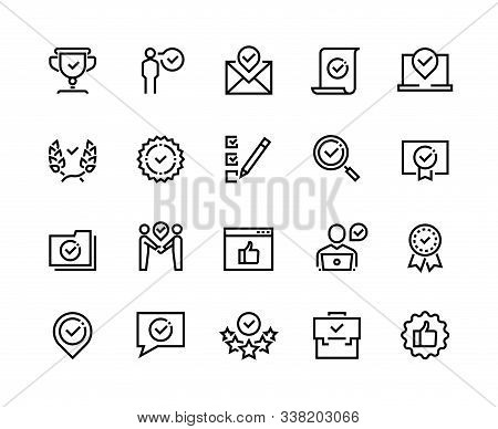 Approve Line Icons. Quality Guaranteed Payment Approval And Verification Certificate Outline Symbols