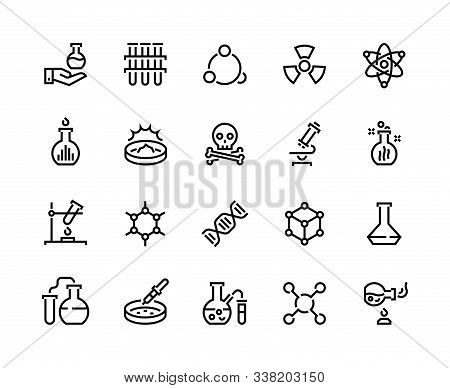 Chemistry Line Icons. Laboratory Equipment And Chemical Reactions, Medical Tube Flask And Beaker. Ve