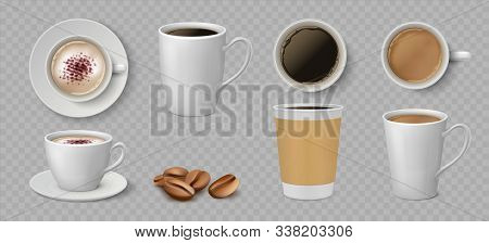 Realistic Coffee Cups. White Ceramic And Paper Mugs With Espresso Latte And Cappuccino. Vector 3d Is