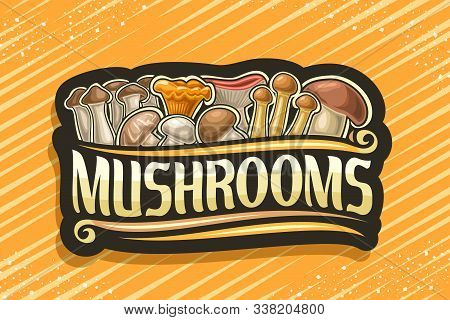 Vector Logo For Edible Mushrooms, Black Decorative Sign With Illustration Of Heap Variety Cartoon Mu