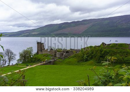 Drumnadrochit , Scotland - May 22 , 2019 : Urquhart Castle Located Beside Loch Ness In The Highlands