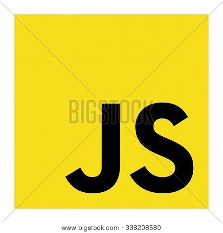 Javascript Emblem Black Letters On The Yellow Background. The Most Popular Programming Language. Iso