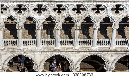 Doge`s Palace Or Palazzo Ducale Taken From Above, Venice, Italy. It Is A Famous Tourist Attraction O