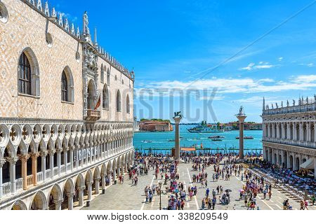 Venice, Italy - May 21, 2017: Doge`s Palace In Summer In Venice. It Is A Famous Landmark Of Venice.