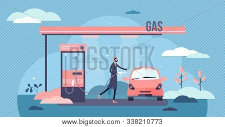 Gas Station Vector Illustration. Fuel Refill Process In Flat Tiny Person Concept. Diesel And Gasolin