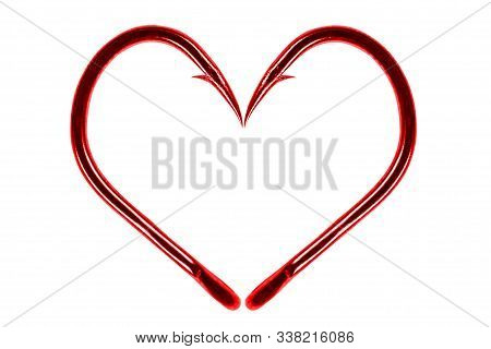 Red Fishing Hook Love Heart Sign Isolated On A White Background. Fishing Hook Close Up. Fishing Tack