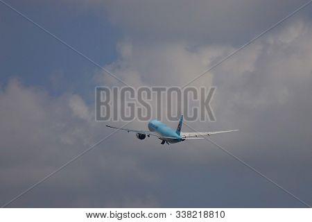 Saigon, Vietnam - May 22, 2019. Passenger Airplane Of  Korean Air Taking Off From Tan Son Nhat Airpo