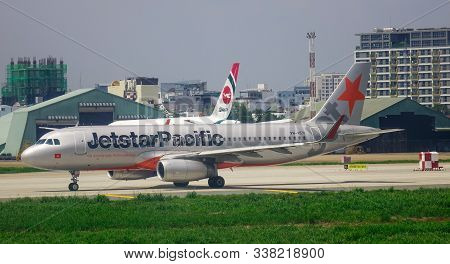 Saigon, Vietnam - May 22, 2019. Vn-a571 Jetstar Pacific Airlines Airbus A320 Taxiing On Runway Of Ta