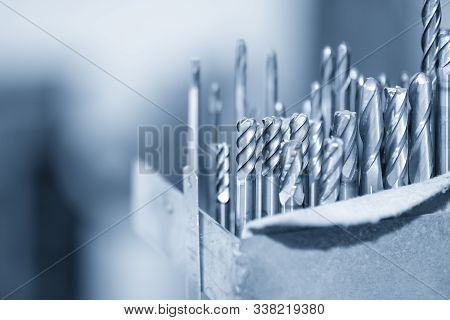 The Various Type  Cutting Tools Of Cnc Machine On The Stock Shelf  In The Tool Room. The Set Of Cnc
