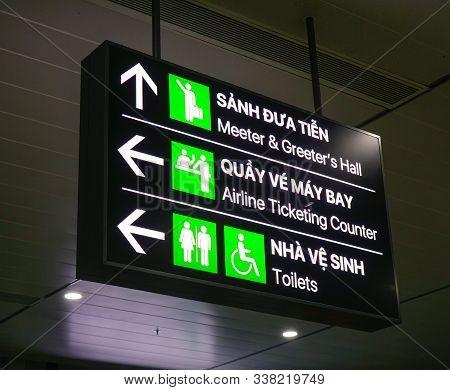 Saigon, Vietnam - Dec 4, 2019. Direction Board Of Tan Son Nhat Airport In Saigon, Vietnam. Tan Son N