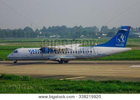 Saigon, Vietnam - May 22, 2019. Vn-b223 Vasco Vietnam Air Services Atr 72-500 Taxiing On Runway Of T