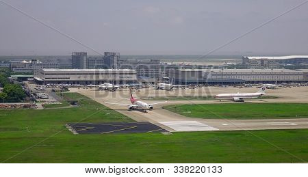 Shanghai, China - Jun 3, 2019. Airplanes Docking At Shanghai Pudong Airport (pvg). The Airport Is Th