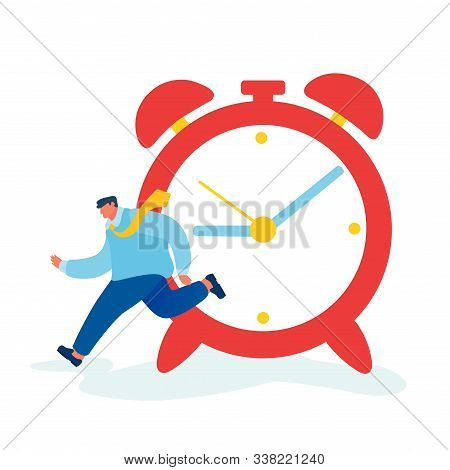 Time As Valuable Life Resource Concept. Hurrying Businessman Running Fast Near Huge Alarm Clock Hurr