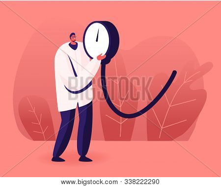 Tiny Doctor Holding Huge Manometer Device, Part Of Tonometer For Checking Systolic And Diastolic And