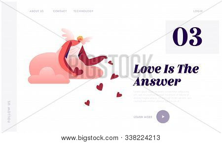 Cupid In White Toga Throw Red Hearts From Cloudy Sky Website Landing Page. Blonde Cherub Spread Love