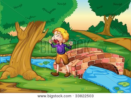 Illlustration of boy crying in the woods - EPS VECTOR format also available in my portfolio.