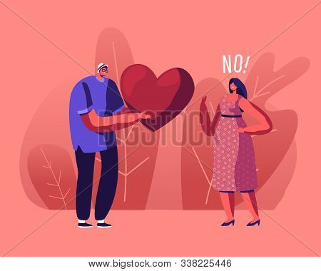 Unrequited Love Concept. Loving Man Giving Huge Red Heart To Woman Rejecting His Feelings Saying No.