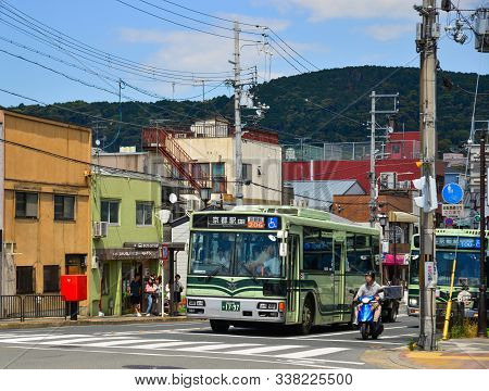 Kyoto, Japan - Jun 24, 2019. A Local Bus Running On Street In Kyoto, Japan. The Kyoto City Buses Are