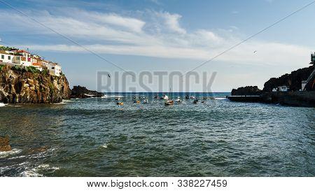 Colourful Sailing Fisher Man Boats In Camara De Lobos Port, Madeira, Portugal