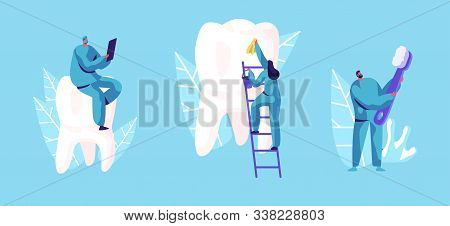 Dental Care Concept. Tiny Dentists Characters In Medical Robe Cleaning And Brushing Huge Teeth. Doct
