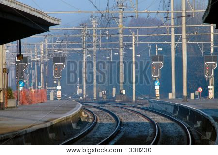 Entry To Train Station In Morning Fog