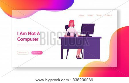 Business Woman Working On Personal Computer At Office Workplace Website Landing Page. Hardwork Emplo