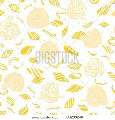Vector Noodle Pasta Pattern. Homemade Delicious Hand Drawn Noodle Pattern On Spotted Background In P