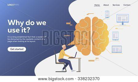 Professional Analyzing Data On Laptop. Brain, Thinking, Efficiency Flat Vector Illustration. Brainwo