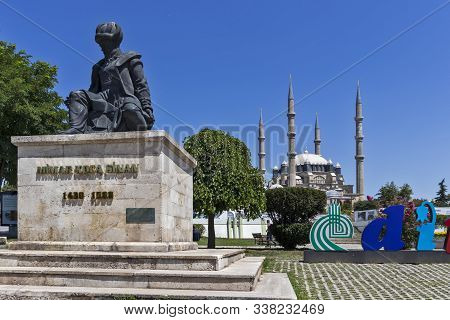 Edirne, Turkey - July 28, 2019: Monument Of Ottoman Architect Mimar Sinan And Selimiye Mosque  In Ci