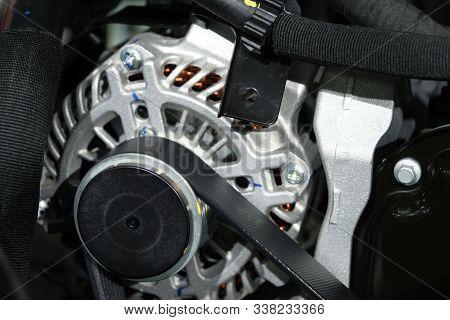 The Powerful Engine Of A Car. Internal Design Of Engine. Car Engine Part. Modern Powerful Car Engine