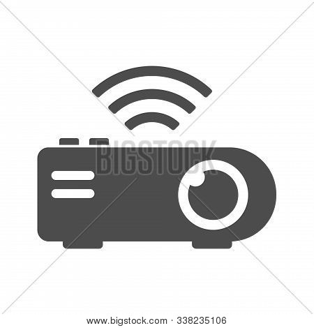 Projector Vector Icon Isolated On White Background. Projector With Wireless Connection Icon For Web,