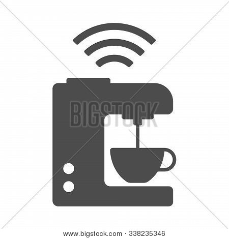 Smart Coffee Maker Vector Icon Isolated On White Background. Smart Coffee Maker With Airwaves Icon F