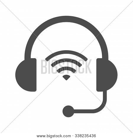 Wireless Headphones Vector Icon Isolated On White Background. Wireless Headphones With Airwaves Icon