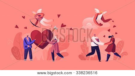 People In Romantic Relationship. Couples On Date Holding Red Heart With Arrow. Cupid With Bow Flying