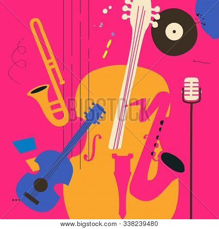 Music Promotional Poster With Violoncello, Saxophone, Microphone, Guitar And Trombone Flat Vector Il