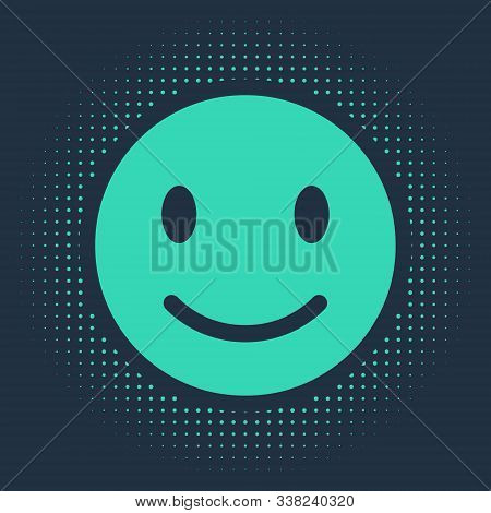 Green Smile Face Icon Isolated On Blue Background. Smiling Emoticon. Happy Smiley Chat Symbol. Abstr