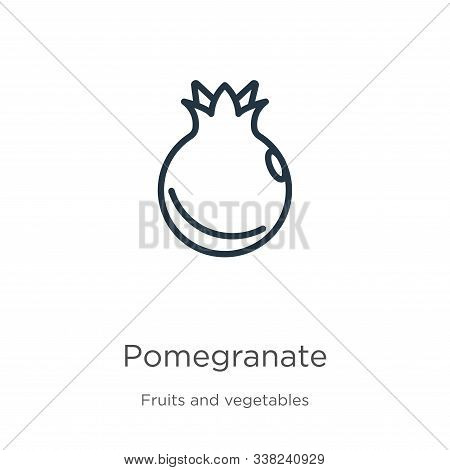 Pomegranate Icon. Thin Linear Pomegranate Outline Icon Isolated On White Background From Fruits Coll