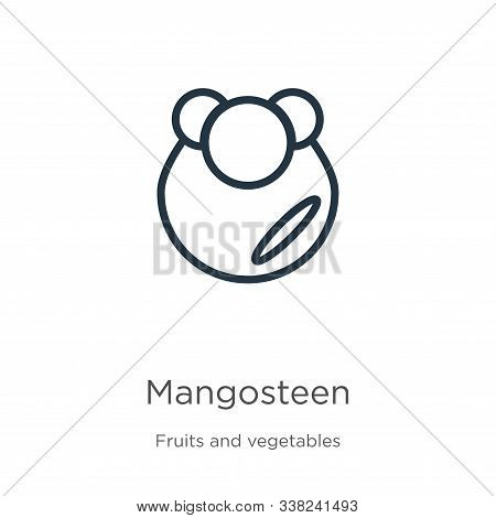 Mangosteen Icon. Thin Linear Mangosteen Outline Icon Isolated On White Background From Fruits Collec