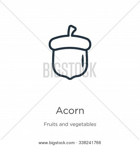 Acorn Icon. Thin Linear Acorn Outline Icon Isolated On White Background From Fruits Collection. Line