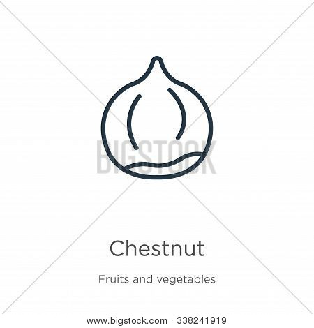 Chestnut Icon. Thin Linear Chestnut Outline Icon Isolated On White Background From Fruits Collection