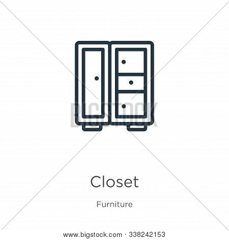 Closet Icon. Thin Linear Closet Outline Icon Isolated On White Background From Furniture Collection.