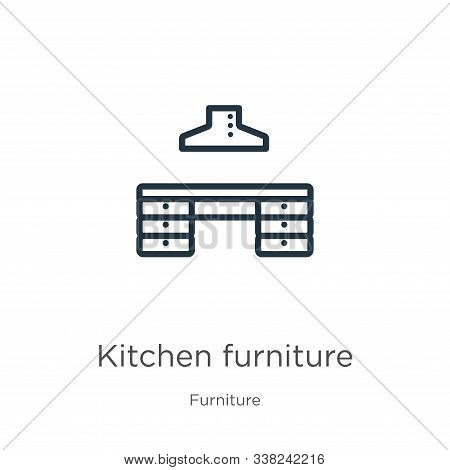 Kitchen Furniture Icon. Thin Linear Kitchen Furniture Outline Icon Isolated On White Background From