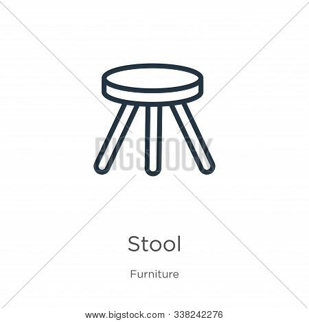Stool Icon. Thin Linear Stool Outline Icon Isolated On White Background From Furniture Collection. L